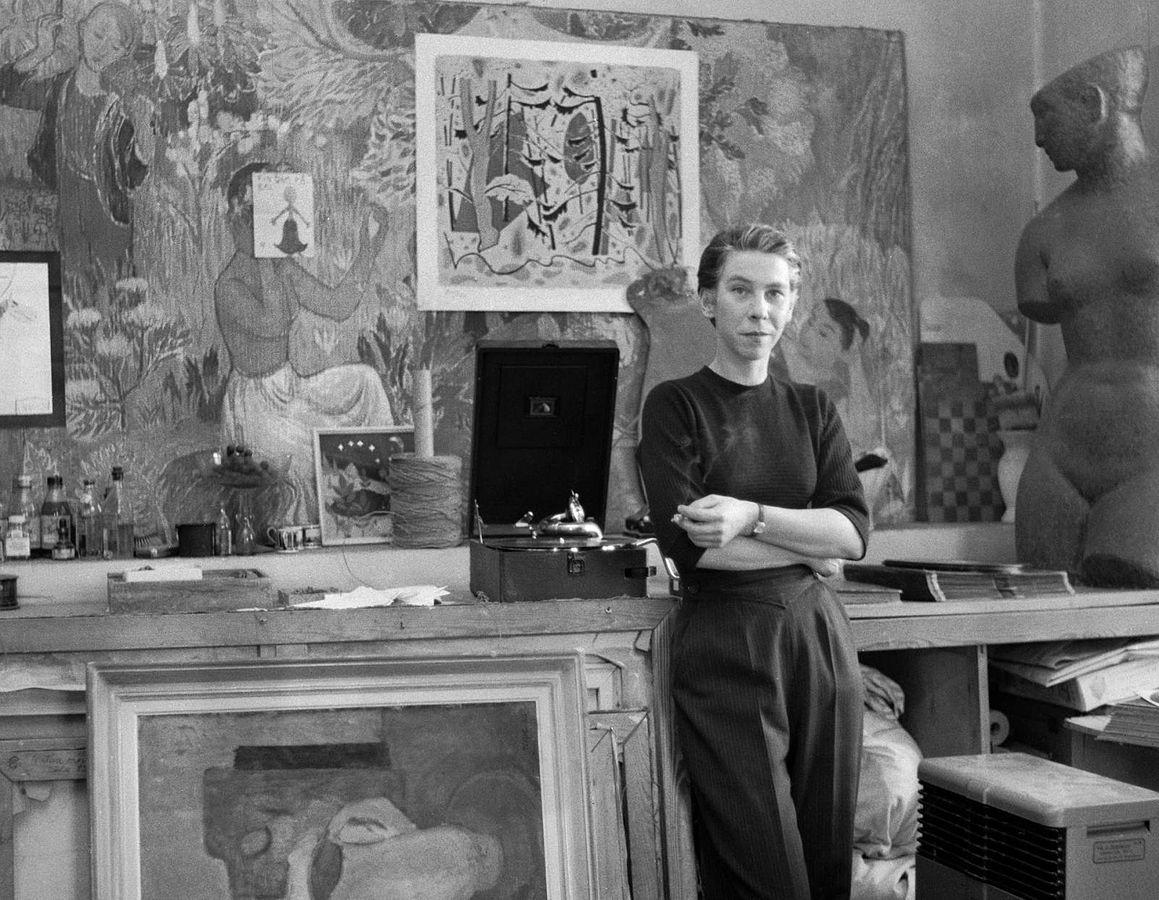 Fotografie von Tove Jansson in ihrem Studio